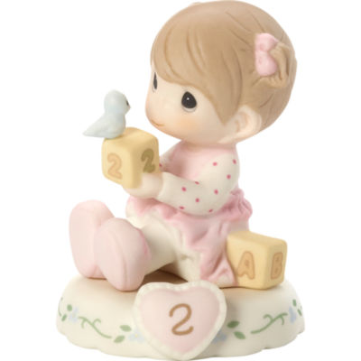 "Precious Moments  ""Growing In Grace  Age 2""  Bisque Porcelain Figurine  Brunette Girl  #142011B"