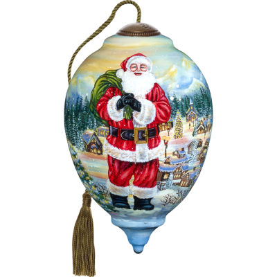 Ne'Qwa Art 7171117 Hand Painted Blown Glass SantaClaus is Coming to Town Ornament Limited Edition Princess Shaped  5.5-inches