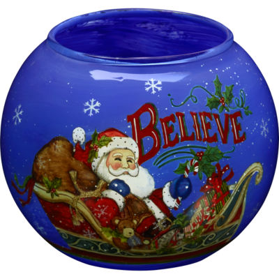 Ne'Qwa Art 7171202 Hand Painted Glass Believe Santa Votive and Tea Light Candle Holder  3-inches  Blue