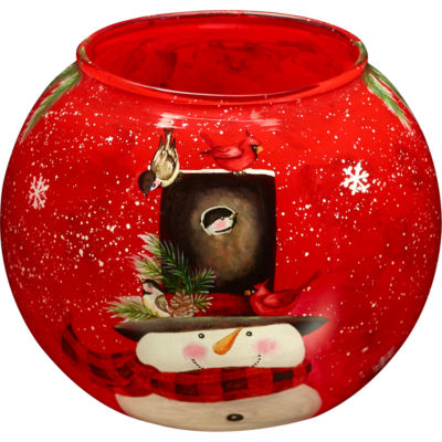 Ne'Qwa Art 7171205 Hand Painted Glass Snowman Votive and Tea Light Candle Holder  Home is Where YouHang Your Hat  3-inches  Red