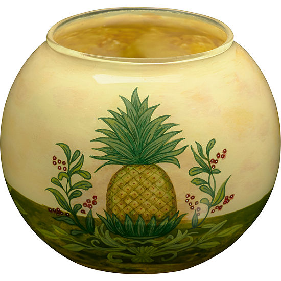 Neqwa Art 7171208 Hand Painted Glass Welcome Pineapple Votive And Tea Light Candle Holder 3 Inches Yellow