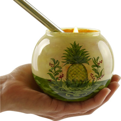 Ne'Qwa Art 7171208 Hand Painted Glass Welcome Pineapple Votive and Tea Light Candle Holder  3-inchesYellow