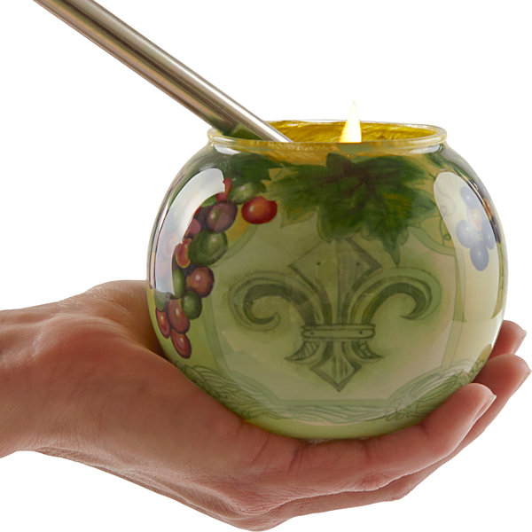 Ne'Qwa Art 7171211 Hand Painted Fleur De Lis VinesVotive and Tea Light Candle Holder  3-inches  Green