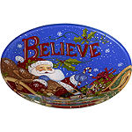 Ne'Qwa Art 7171200 Hand Painted Round Glass Believe Santa Plate  6.25-inches  Blue