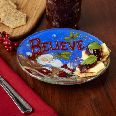 Ne'Qwa Art 7171200 Hand Painted Round Glass Believe Santa Plate  6.25-inches  Blue