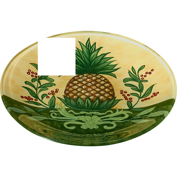 Ne'Qwa Art 7171206 Hand Painted Round Glass Welcome Pineapple Plate  6.25-inches  Yellow