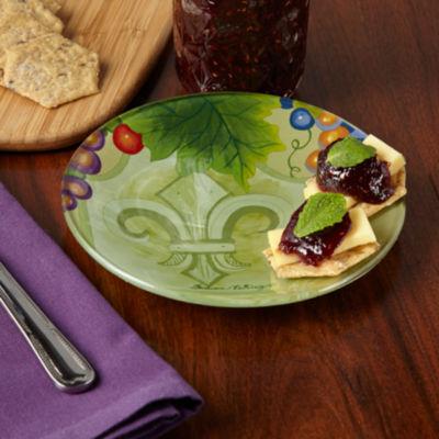 Ne'Qwa Art 7171209 Hand Painted Round Glass FleurDe Lis Plate Vines  6.25-inches  Yellow