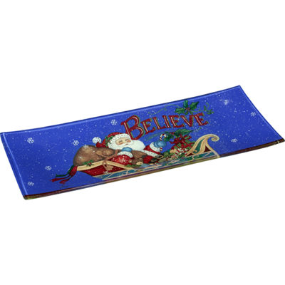 Ne'Qwa Art 7171201 Hand Painted Glass Believe Santa Serving Tray  13.75-inches by 5.25-inches  Blue