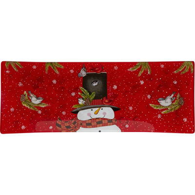 Ne'Qwa Art 7171204 Hand Painted Glass Snowman Snowman Serving Tray  Home is Where You Hang Your Hat13.75-inches by 5.25-inches  Red