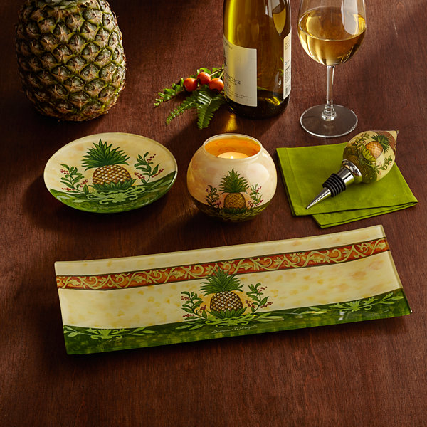 Ne'Qwa Art 7171207 Hand Painted Glass Welcome Pineapple Serving Tray  13.75-inches by 5.25-inches  Yellow