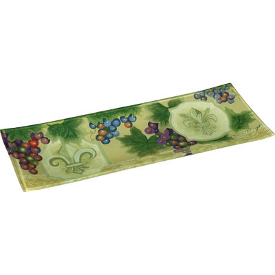 Ne'Qwa Art 7171210 Hand Painted Glass Fleur De LisVines Serving Tray  13.75-inches by 5.25-inchesGreen