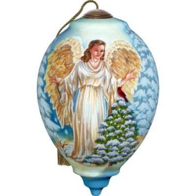 Ne'Qwa Art 7171118 Hand Painted Blown Glass Standard Princess Shaped Winter Forest Angel Ornament  5.5-inches