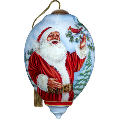 Ne'Qwa Art 7171123 Hand Painted Blown Glass Standard Princess Shaped Santa's Feathered Hat Ornament5.5-inches