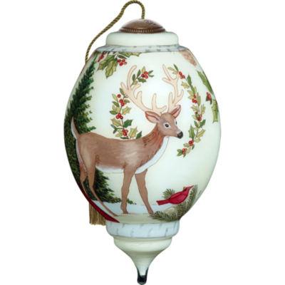 Ne'Qwa Art 7171155 Hand Painted Blown Glass Standard Trillion Shaped Season's Greetings Ornament  5.5-inches
