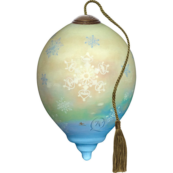 Ne'Qwa Art 7171126 Hand Painted Blown Glass PetitePrincess Shaped Joyful Jolly Snowman Ornament  3-inches