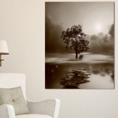 Designart Alone Tree On Island In Sepia Canvas Art