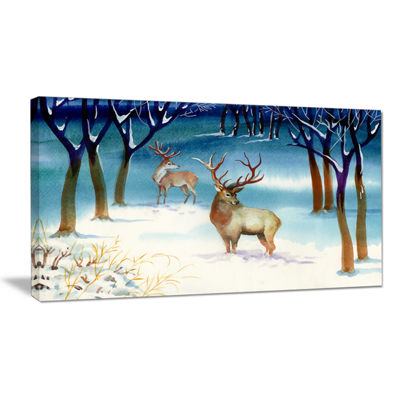 Designart Amazing Winter Forest With Deer Canvas Art