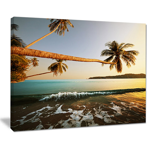 Designart Andaman Sea Large Coconut Palms Canvas Art