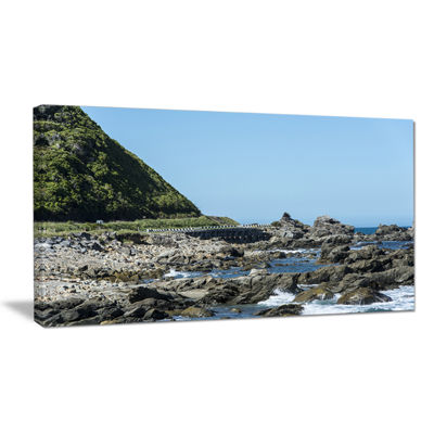 Designart Beautiful New Zealand Rocky Beach Canvas Art