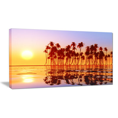 Designart Beautiful Row Of Coconut Palms On Beach Canvas Art