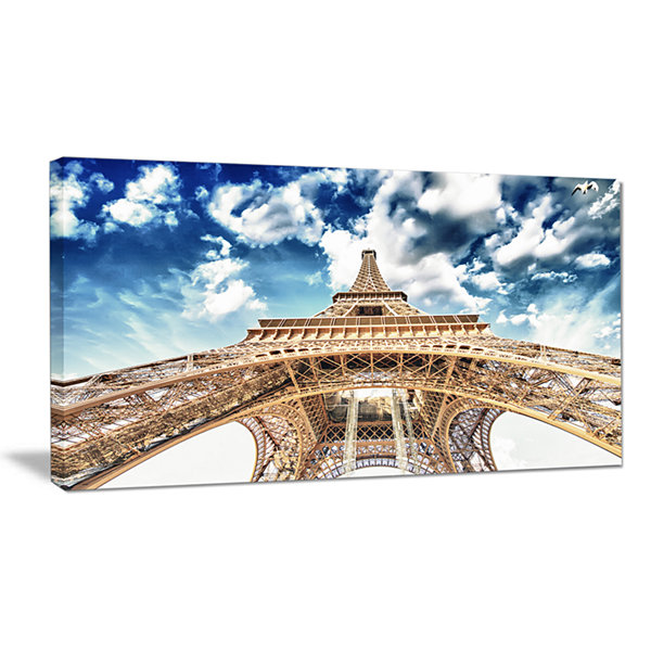 Designart Beautiful View Of Paris Paris Eiffel Towerunder Clouds Canvas Art