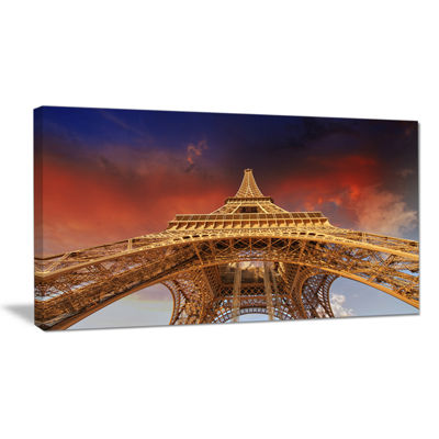 Designart Beautiful View Of Paris Paris Eiffel Towerunder Red Sky Canvas Art