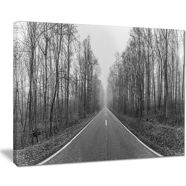 Designart Black And White Freeway In Forest Canvas Art
