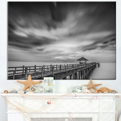 Designart Black And White Wooden Bridge And Sky Canvas Art
