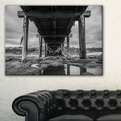 Designart Black And White Large Wooden Bridge Canvas Art