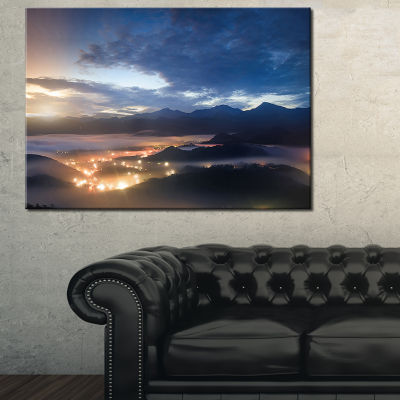 Designart Blue Cloudy Summer Sunrise 3-pc. Canvas Art