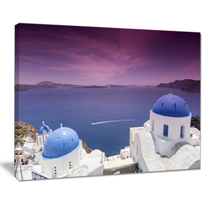 Designart Blue Domed Churches On Caldera Canvas Art