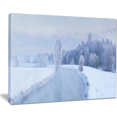 Designart Blue Frosty Winter Weather Panorama Canvas Art