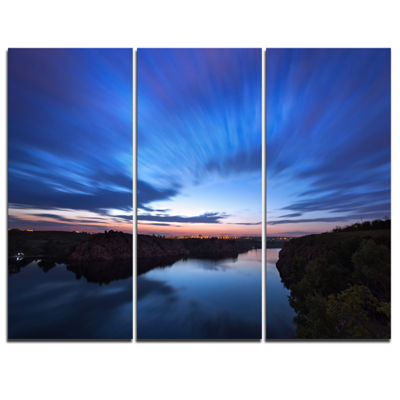 Designart Blue Night Sky With River 3-pc. Canvas Art