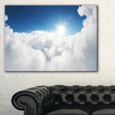 Designart Blue Sky And Sun Over Clouds Canvas Art