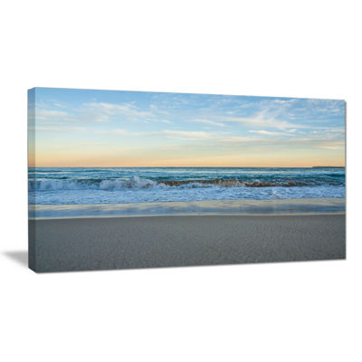 Designart Blue Splashing Scene Beach Canvas Art