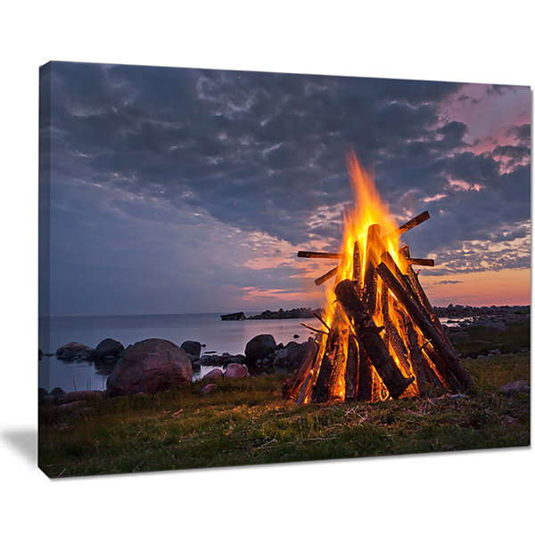 Designart Bonfire On Beach In Summer Night Canvas Art