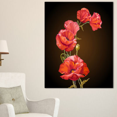 Designart Bright Poppies Flower Canvas Art
