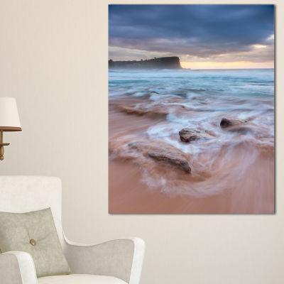 Designart Bright Sydney Sea With Long Waves Canvas Art