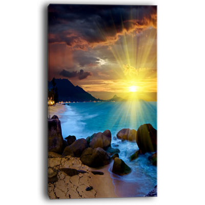 Designart Bright Yellow Sun Over Blue Waters Canvas Art