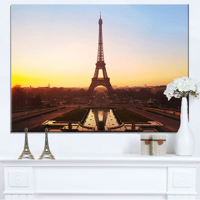 Designart Brown Silhouette Of Paris Paris Eiffel Tower Canvas Art