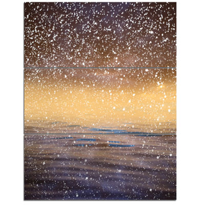Designart Brown Sky Reflection In Lake 3-pc. Canvas Art