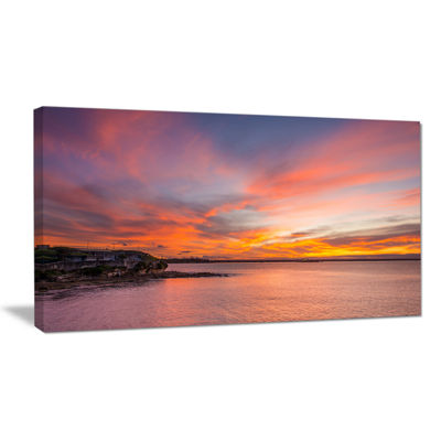 Designart Calm Sydney Beach With Yellow Sky Canvas Art