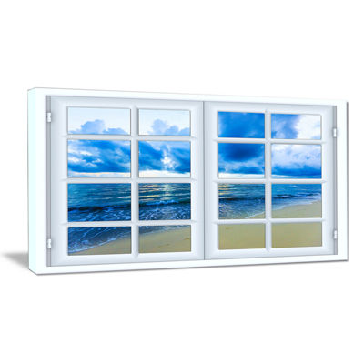 Designart Closed Window To Blue Seascape Canvas Art