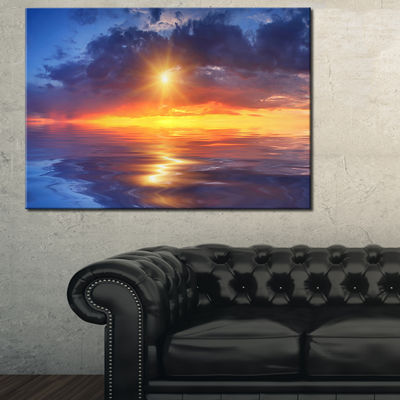 Designart Cloudy Sunset Reflection In Lake Canvas Art