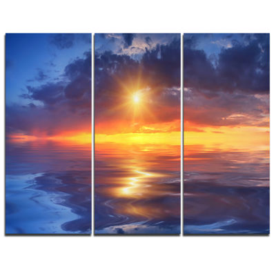 Designart Cloudy Sunset Reflection In Lake 3-pc. Canvas Art