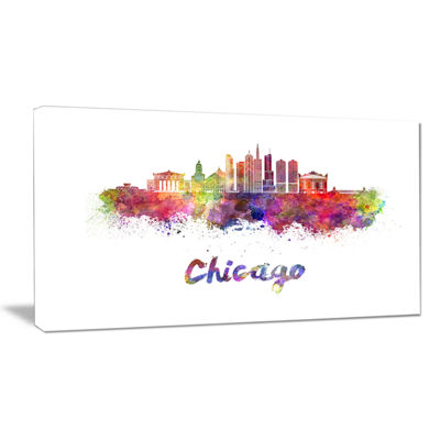 Designart Colorful Chicago Skyline In Watercolor Canvas Art