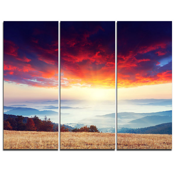 Designart Colorful Clouds And Foggy Hills 3-pc. Canvas Art