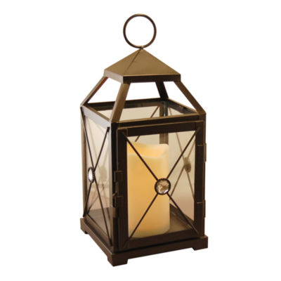 Metal Gem Lantern with Battery Operated Candle