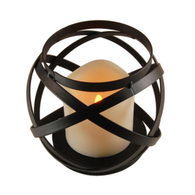Metal Lantern - Banded Design with Battery Operated Candle