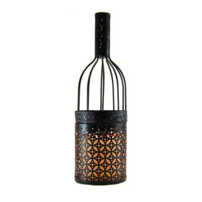 Metal Lantern - Wine Bottle with Battery OperatedCandle